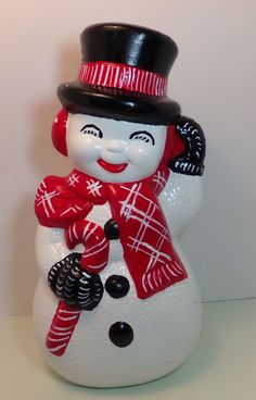 1978 Ceramic Bisque Handpainted Frosty The Snowman Large 13 Christmas Figurine