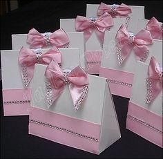 Purse Favor Box Pink Satin Bow Silver by JaclynPetersDesigns