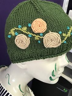 Free Until Jan 31 2018 Knitting Pattern for Beanie de Fleur - Hat with embroidered roses and stems. Designed by ETC Studio.
