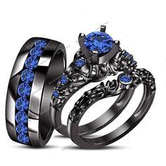Unisex 14k Black Gold Finish 1.20 CTW Round Blue Sapphire Wedding Trio Ring Set…