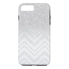 #Silver glitter ombre chevron geometric pattern iPhone 8 plus/7 plus case - #girly #iphone #cases