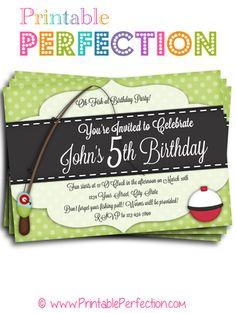 Birthday Party Invitation - O-Fish-Ally -  Fishing - Horizontal