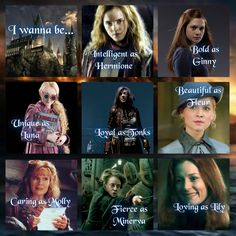 Harry Potter all-time greatest females: Hermione Granger, Ginny Weasley, Luna Lovegood, Nymphadora Tonks, Fleur Delacour, Molly Weasley, Minerva McGonagall, and Lily Potter. Which one is your favorite?
