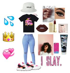 """I slay"" by queen-liv ❤ liked on Polyvore featuring Lime Crime, NIKE, SwitchEasy, Gucci, Lipstick Queen and Abercrombie & Fitch"