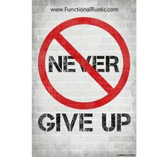Never give up. www.FunctionalRustic.com #quote #quoteoftheday #motivation #inspiration #diy #functionalrustic #homestead #rustic #pallet #pallets #rustic #handmade #craft #tutorial #michigan #puremichigan #storage #repurpose #recycle #decor #country #duck #muscovy #barn #strongwoman #success #goals #inspirationalquotes #quotations #strongwomenquotes #smallbusiness #smallbusinessowner #puremichigan #recovery #sober