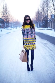 love bright dresses in the winter.