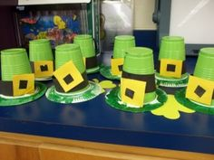 Leprechan hats made from green cups! So cute!