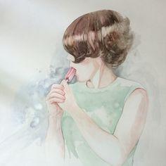 Liz.  Portrait in watercolour by Christy Obalek