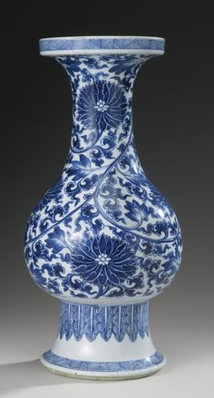 A BLUE AND WHITE PEAR-SHAPED 'LOTUS' VASE  QING DYNASTY, KANGXI PERIOD
