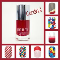 Cardinal Nail Lacquer - complement it with one of Jamberry's amazing wraps! #nailart #naillacquer #jamberry #manicure #pedicure #www.katelinpage.jamberrynails.net https://www.facebook.com/katelinpagejamberrynails