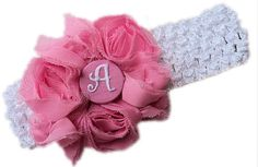 PERSONALIZED Shabby Rosette Hair Bow plus Headband Interchangeable STRETCHY for Girls Baby Newborn Infant Toddler Head Band pink monogram on Etsy, $11.95