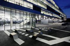 Science Park Linz, Mechatronik Building by Caramel Architekten, Austria Public Architecture, Light Architecture, Urban Furniture, Street Furniture, Science Park, Hotels, Building Exterior, Modern Exterior, Urban Design