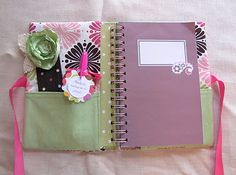 Fabric notebook cover with pockets for bookmark, pen, etc. (tutorial)