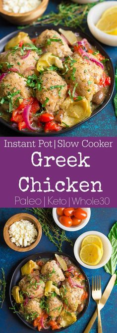 This simple Greek Chicken is packed with veggies, flavor, and fresh herbs! So delicious and so easy to make in your Instant Pot or Slow Cooker. #paleo #instantpot #whole30 #ketogenic #