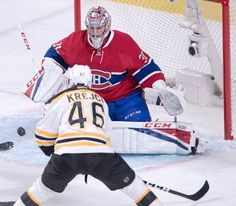 Montreal Canadiens goalie Carey Price (31) stops Boston Bruins center David Krejci (46) during the first period of an NHL hockey game Tuesday, Nov. 8, 2016, in Montreal. (Ryan Remiorz/The Canadian Press via AP)