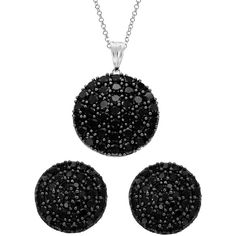 Sterling Silver Black Spinel Circle Stud Earrings and Necklace Set ($37) ❤ liked on Polyvore featuring jewelry, earrings, jewelry sets, black, long earrings, long chain earrings, chain earrings, long chain pendant and chain pendants