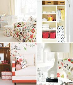 color schemes, color combos, chair fabric, girl nurseries