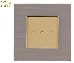 GLSTouch Designer Silver & Gold Brushed Aluminium Touch Light Switch (On/Off) 3 Gang 1 Way