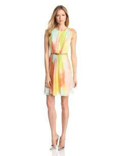 Women's Fit & Flare Dress – Vince Camuto  100% polyester cap sleeve dress with adjustable belt and warm allover feather print.