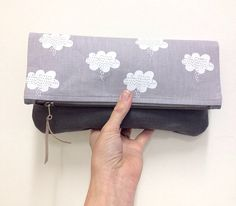 Fold over clutch purse. 'White Rain Clouds' on by handmadebymegs