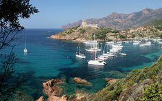 Lataa kuva Korsika, bay, kesällä, valkoinen jahdit, Italia, Välimerelle, matka