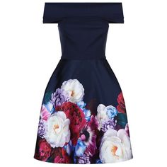 Ted Baker Nersi Floral Print Dress (900 AED) ❤ liked on Polyvore featuring dresses, flare dress, off shoulder dress, pattern dress, blue floral print dress and off the shoulder dress