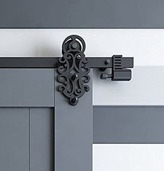 DIYHD 5FT Ornate Cut Black Iron Sliding Barn Door Hardware With Spring-in Soft Close Stop