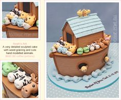 Maysoon ahmed By Twos - When Emily found out she was having twins, she began toCakes/Cookies/Cupcakes Noah's Ark cake by Cake Avenue Cupcakes, Cupcake Cakes, Dog Cakes, Noahs Ark Cake, Mountain Cake, Animal Cakes, Fondant Cakes, Fondant Bow, Birthday Cakes