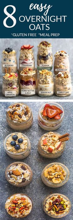 8 Healthy and delicious OVERNIGHT OATS – simple no-cook make-ahead oatmeal perfect for busy m. 8 Healthy and delicious OVERNIGHT OATS – simple no-cook make-ahead oatmeal perfect for busy mornings. Overnight Oats Receita, Easy Overnight Oats, Overnight Breakfast, Dairy Free Overnight Oats, Strawberry Overnight Oats, Peanut Butter Overnight Oats, Best Overnight Oats Recipe, Gluten Free Oatmeal, Overnight Porridge Recipes
