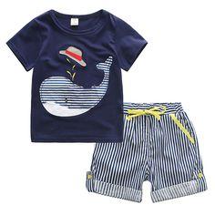 $9.89 (Buy here: https://alitems.com/g/1e8d114494ebda23ff8b16525dc3e8/?i=5&ulp=https%3A%2F%2Fwww.aliexpress.com%2Fitem%2F2016-new-summer-wear-a-generation-of-fat-boy-cotton-short-sleeved-suit-children-T-shirt%2F32668166879.html ) New 2016 Summer Brand Boys Clothing Set High Quality Boys Whale T-shirt + Striped Shorts 2 Pcs Suit Boys Set for Summer for just $9.89
