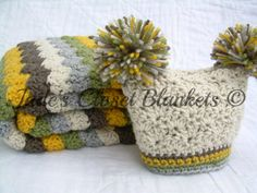 Baby Gift Set, Crochet Baby Travel Blanket and Pom Pom Hat Gift Set, Neutral Colors, yellow, brown, grey, tan, and green