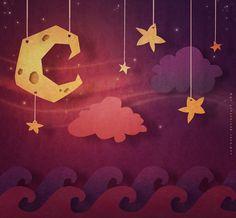 Under the Moonlight by CodiBear on DeviantArt Illustration Story, Illustrations, Graphic Design Illustration, Game Textures, Environment Concept Art, Environmental Art, Stars And Moon, Game Design, Game Art