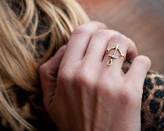 Anker-zarte Ring gold  gelb-bronze von BreakAstone auf Etsy