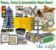 Planes, Trains and Automobiles mood board for a little boy's room {blue i style}