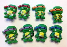 Shop for Groovy Ninja Turtle cartoon character charms. They are great as cake toppers, party favors or for wearing in crocs type shoes or bracelets. Add a magnet to the back and create a refrigerator