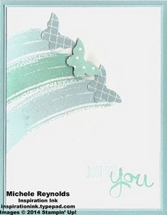 Handmade card by Michele Reynolds, Inspiration Ink, using Stampin' Up! products - Work of Art Set, Subtles Collection Backgrounds Designer Series Paper Stack, and Bitty Butterfly Punch.