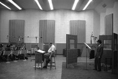 Frank Sinatra in the recording studio with Billy May circa 1959
