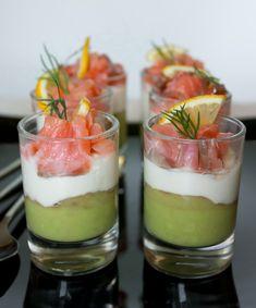 Веррины из лосося, сливочного сыра и авокадо