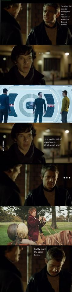 XD I don't even watch Sherlock but I DIED at the Bilbo reference.