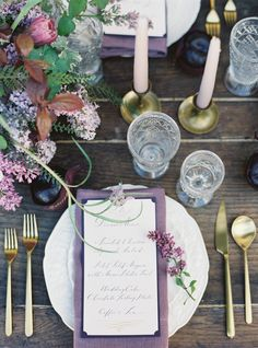 La Tavola Fine Linen Rental: Tuscany Plum Napkins | Photography: Jessica Burke, Floral Design: Studio Mondine, Planning And Design: Cassy Rose Events
