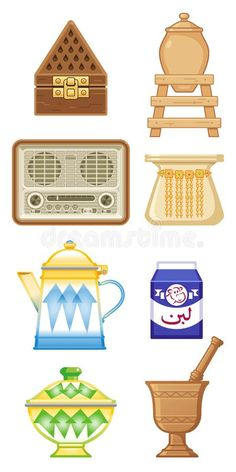 Old traditional heritage icons in Arab gulf countries. Arabic word : milk , old , Ramadan Cards, Ramadan Gifts, Eid Crafts, Crafts For Kids, Paper Crafts, Eid Stickers, Unicorn Stickers, Eid Boxes, Pop Art Collage