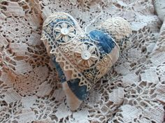 New Years Sale Quilt Heart Ornament from 19th C. Indigo Blue Quilt Christmas Valentine Primitive Bowl Filler Farmhouse Decor by LRFoxDesign on Etsy