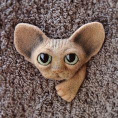 Купить Котоброшка для кармашка :-) - кремовый, розовый, рыжий, Сфинкс, кот, котик, котенок