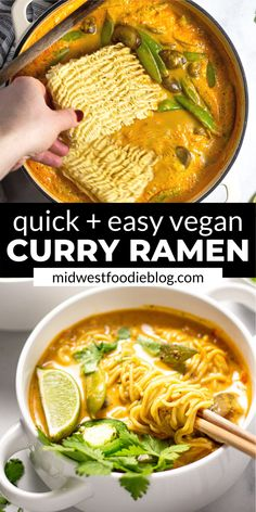 Easy Vegan Ramen Noodles - 20 minutes is all it takes to get this healthy curry. - Easy Vegan Ramen Noodles – 20 minutes is all it takes to get this healthy curry ramen noodle din - Vegan Dinner Recipes, Veggie Recipes, Cooking Recipes, Healthy Recipes, Chicken Recipes, Dessert Recipes, Easy Vegan Dinner, Easy Ramen Recipes, Dinner Ideas Healthy