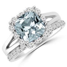 Blue Aquamarine Diamond Halo Engagement Wedding Ring Set