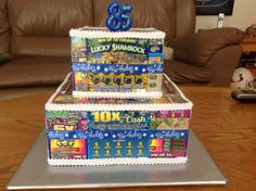 Lottery ticket birthday cake