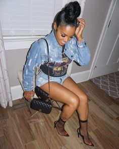 All Distressed Shredded Jean Jacket. Cropped style, shredded and distressed design. Rasheeda is wearing size small. Rasheeda, Lace Pants, Belted Cardigan, Cropped Denim Jacket, Best Stretches, Crop Tee, Top Knot, Women Empowerment, Womens Fashion