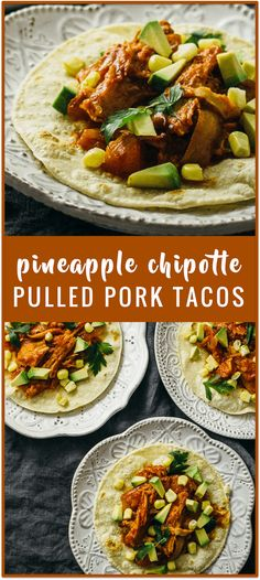 Pineapple chipotle pulled pork tacos (crockpot) recipe - These pulled pork tacos have tender fall-apart pork slowly cooked in the crockpot along with a sauce consisting of tomatoes, pineapples, chipotles in adobo, and garlic.