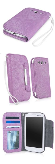 Toned Cheetah Print on Lavender Pebble Leather  Wallet Galaxy S3 Case --- from BoxWave