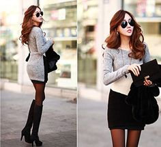 Culater® Mode féminine Mince Talonnage frappé Couleur Automne Taille Mini Robe Pull: Amazon.fr: Vêtements et accessoires